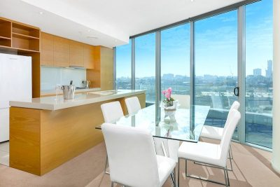 Kitchen with city views