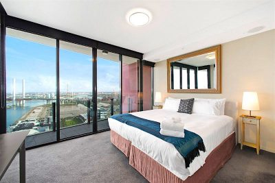 Bedroom view of Victoria Harbour from sub penthouse