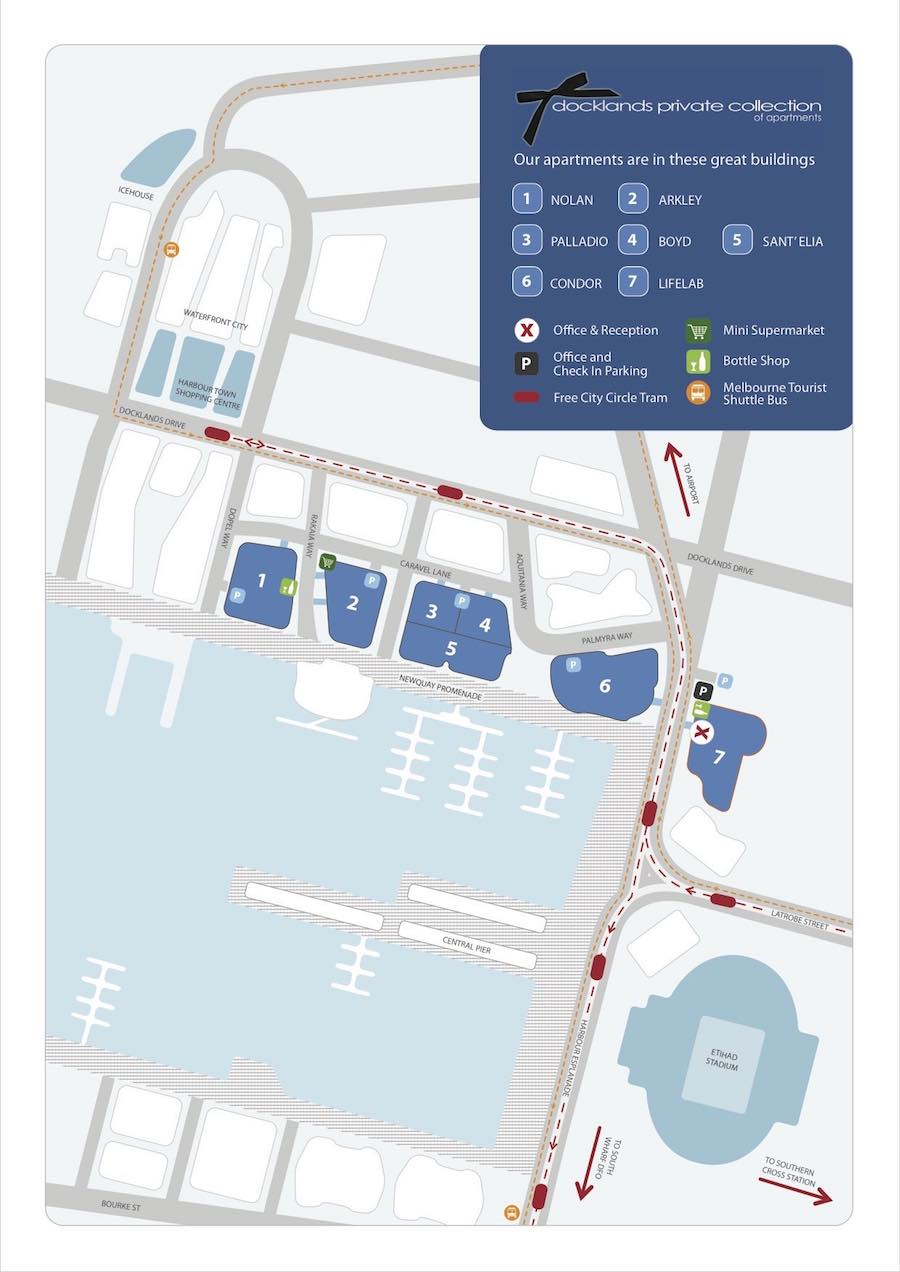 Map of Docklands apartments